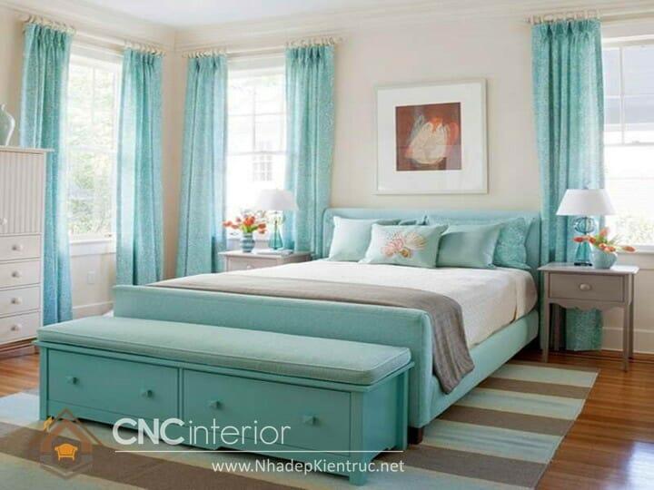 phòng ngủ màu xanh ngọc 09