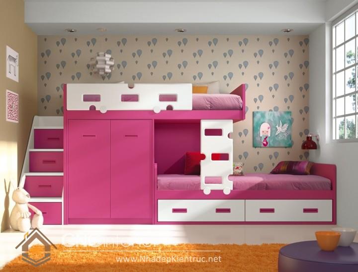 cách trang trí phòng ngủ cho con gái màu hồng 01