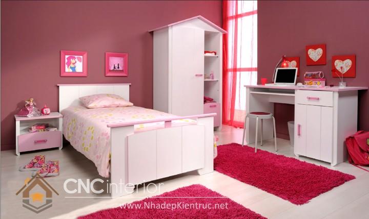 cách trang trí phòng ngủ cho con gái màu hồng 04