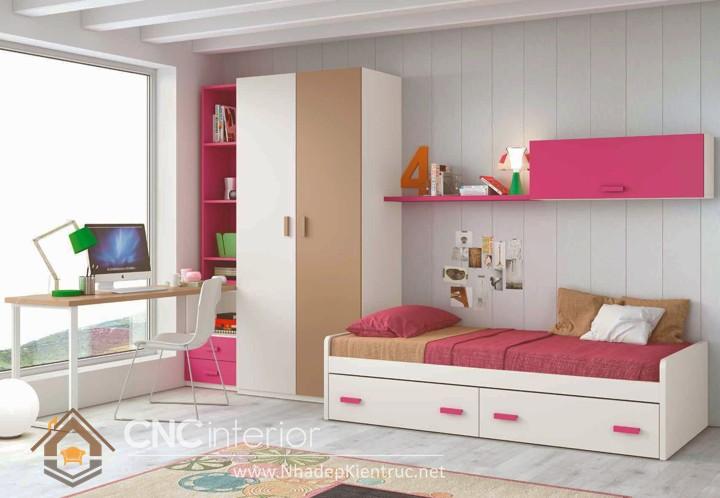 cách trang trí phòng ngủ cho con gái màu hồng 06