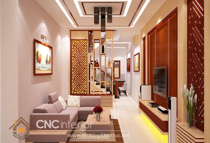 Thiết kế nội thất phòng khách nhà ống 01
