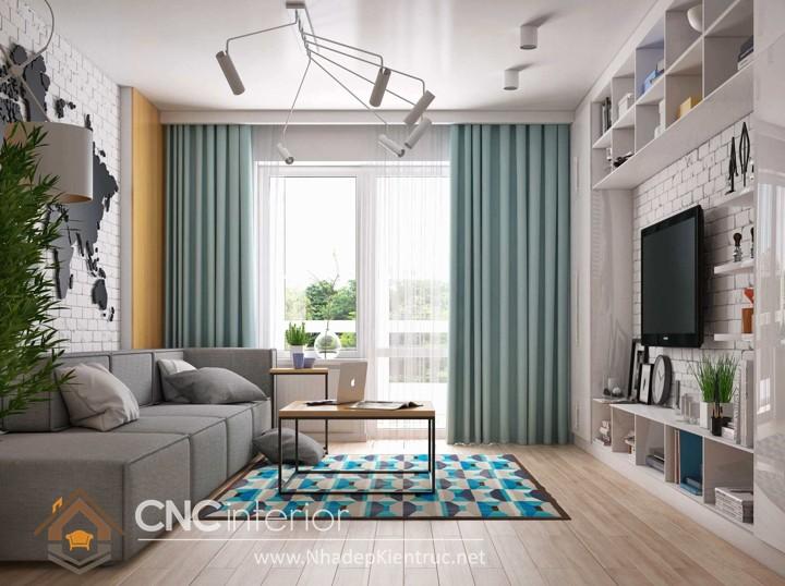 Thiết kế nội thất phòng khách nhỏ hiện đại 02