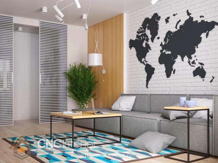 Thiết kế nội thất phòng khách nhỏ hiện đại 04