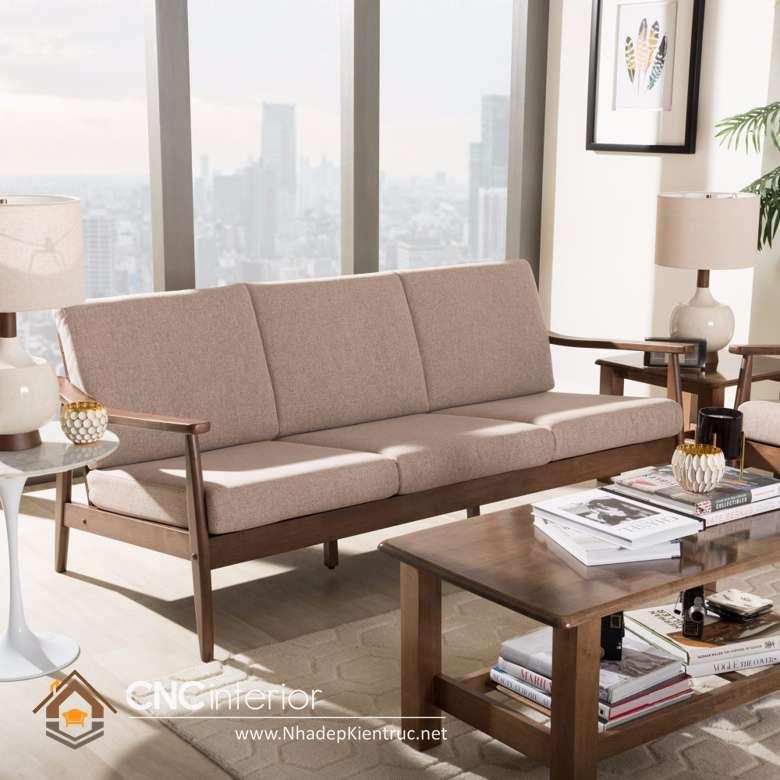 sofa phòng khách gỗ óc chó
