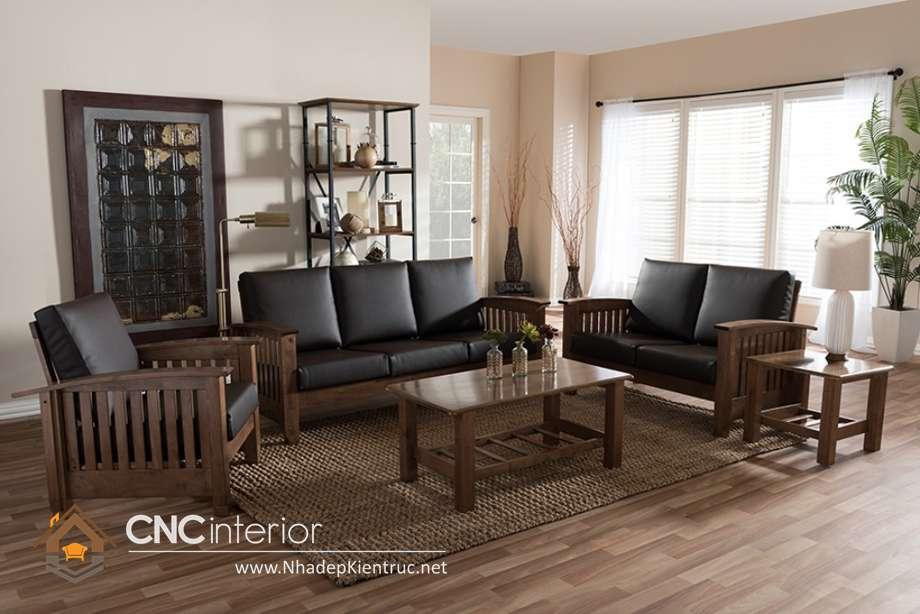 sofa phòng khách gỗ óc chó 3