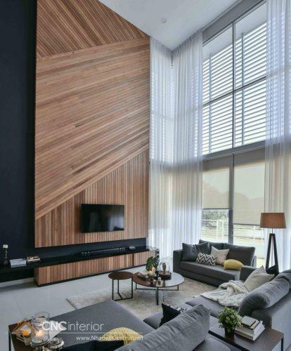 Trang trí tường phòng khách bằng gỗ 11