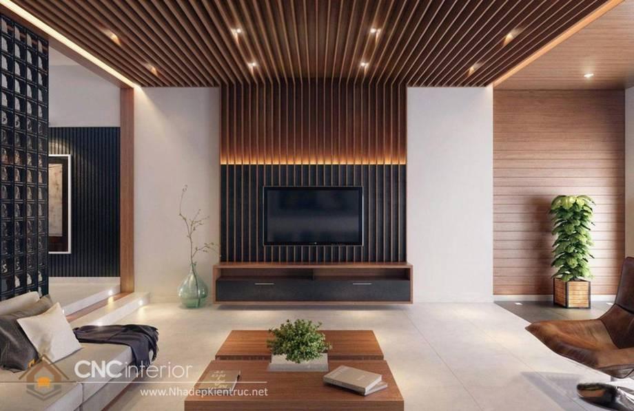 Trang trí tường phòng khách bằng gỗ 13