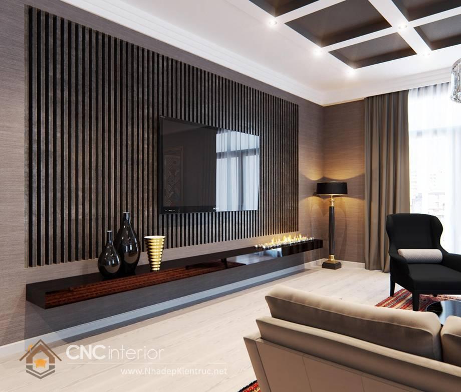 Trang trí tường phòng khách bằng gỗ 14