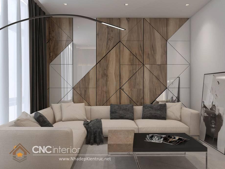 Trang trí tường phòng khách bằng gỗ 2