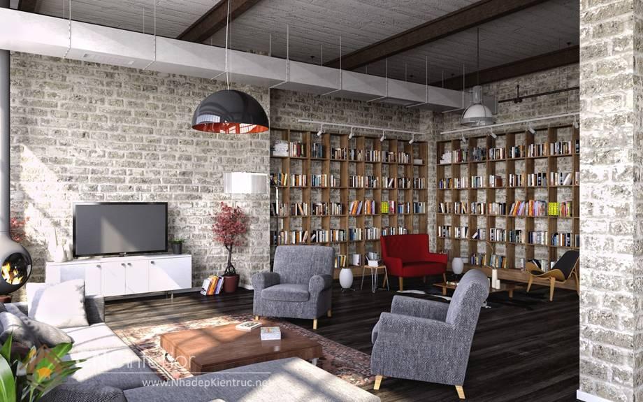 Trang trí tường phòng khách bằng gỗ 20
