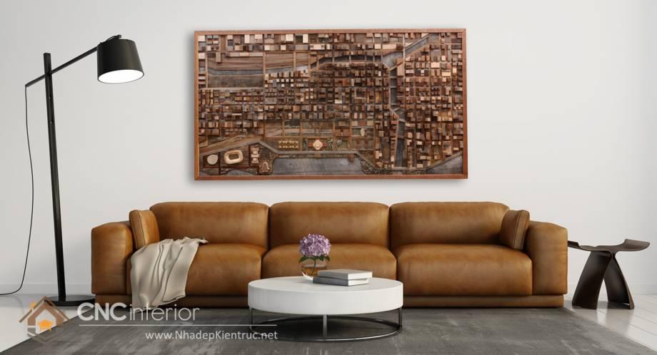 Trang trí tường phòng khách bằng gỗ 24