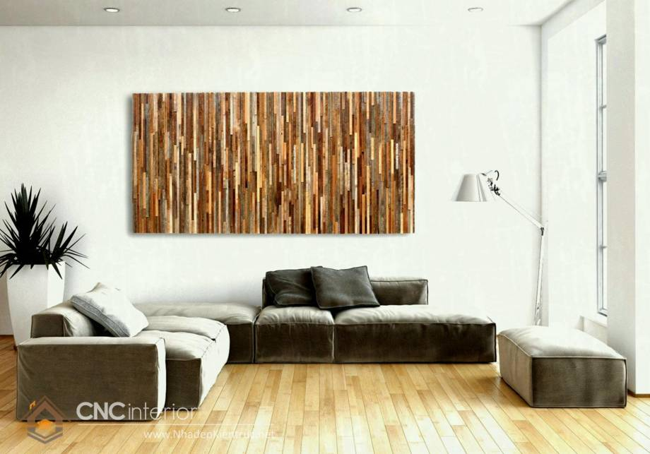 Trang trí tường phòng khách bằng gỗ 25