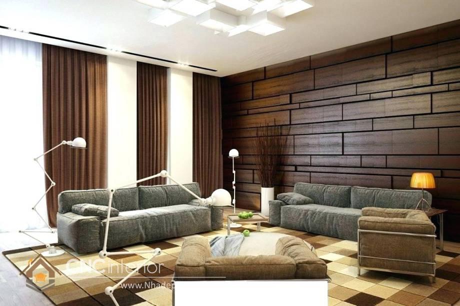 Trang trí tường phòng khách bằng gỗ 5