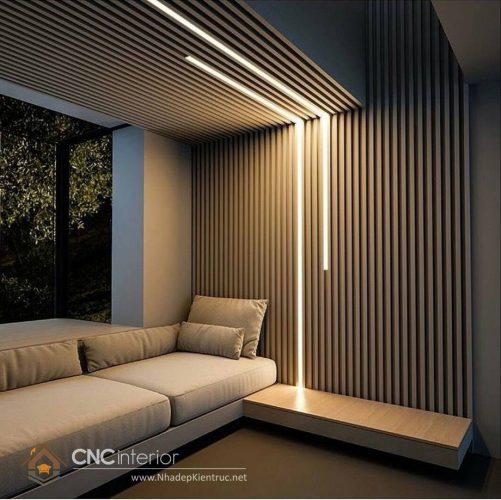 Trang trí tường phòng khách bằng gỗ 6