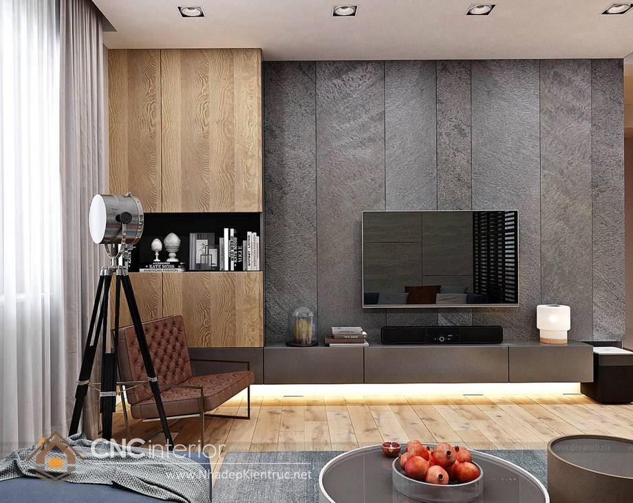 Trang trí tường phòng khách bằng gỗ 7