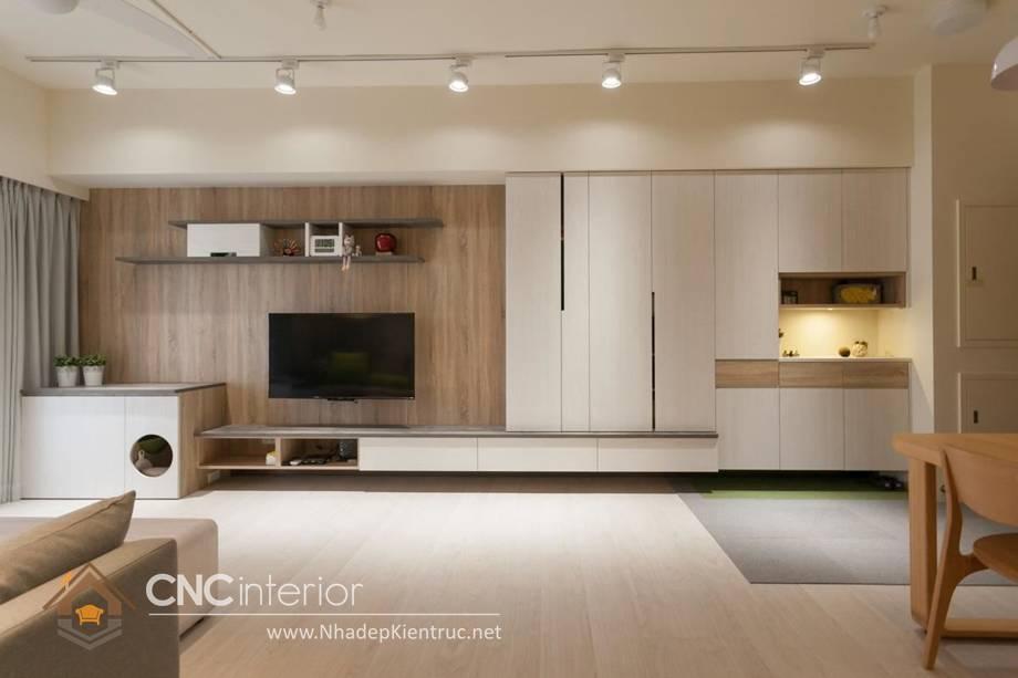 Trang trí tường phòng khách bằng gỗ 9