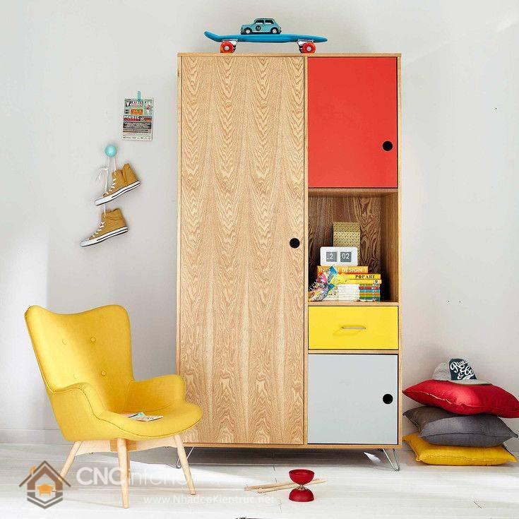 Tủ quần áo trẻ em bằng gỗ mdf 01