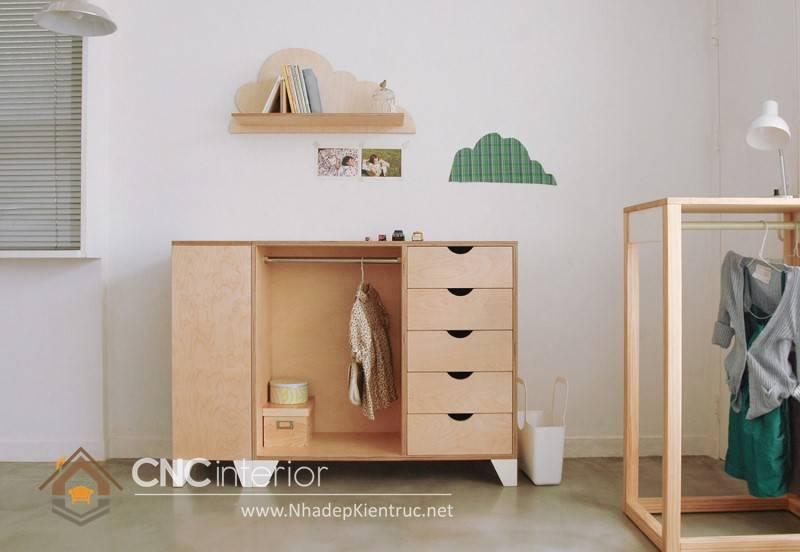 Tủ quần áo trẻ em bằng gỗ mdf 12