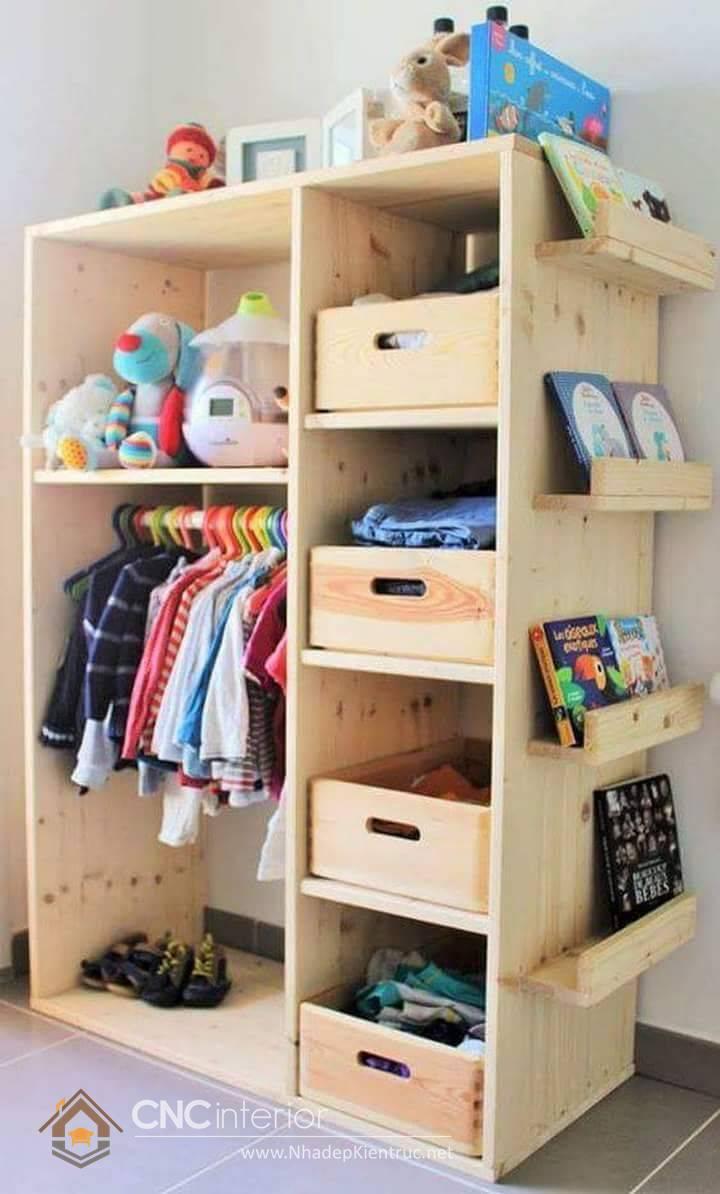 Tủ quần áo trẻ em bằng gỗ mdf 17