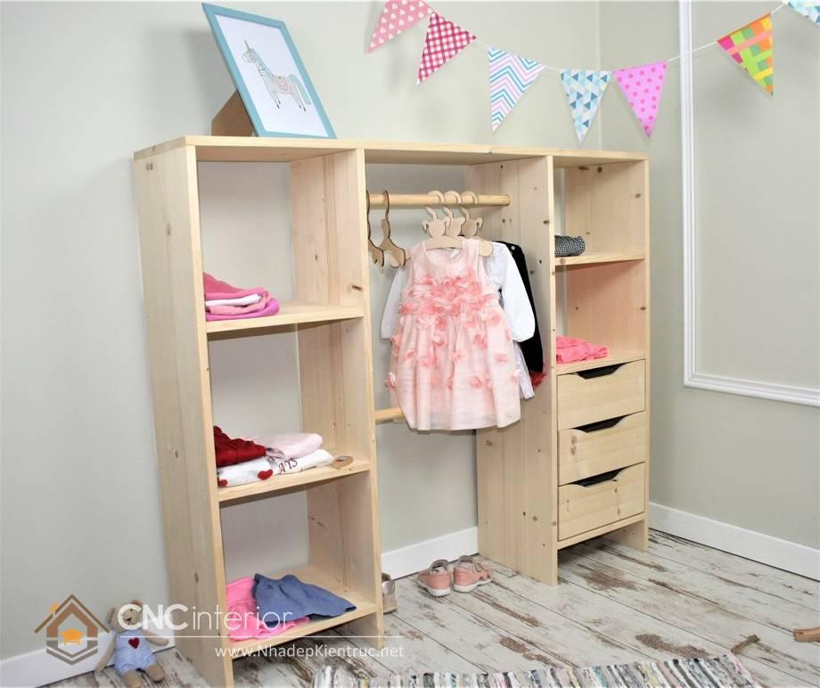 Tủ quần áo trẻ em bằng gỗ mdf 18