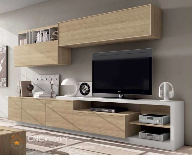 giá các mẫu tủ tường gỗ phòng khách 11