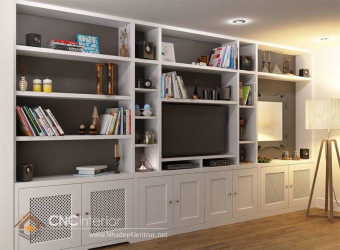 giá các mẫu tủ tường gỗ phòng khách 8