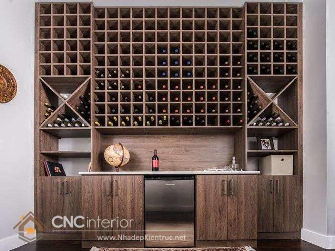 Mẫu tủ rượu âm tường phòng khách đẹp 11