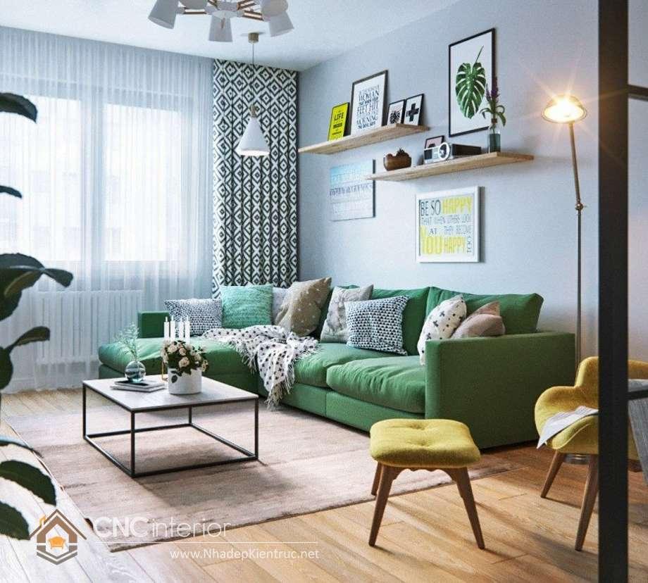 cách phối màu sơn phòng khách hiện đại 1