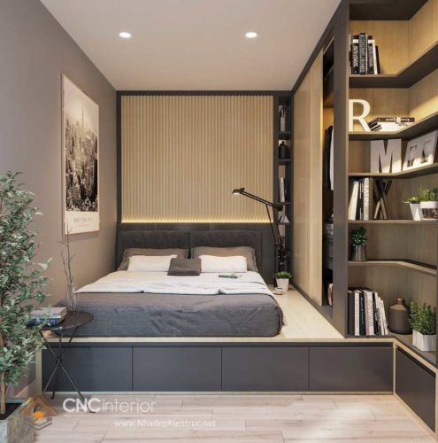 giường gỗ công nghiệp có ngắn kéo 1