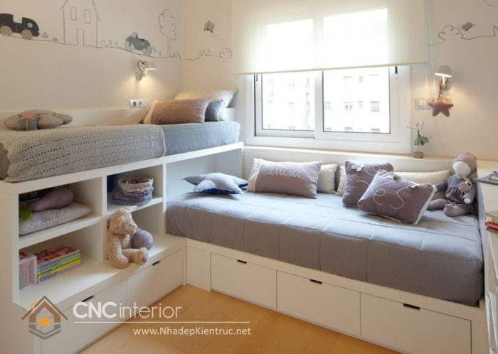 giường gỗ công nghiệp có ngắn kéo 11