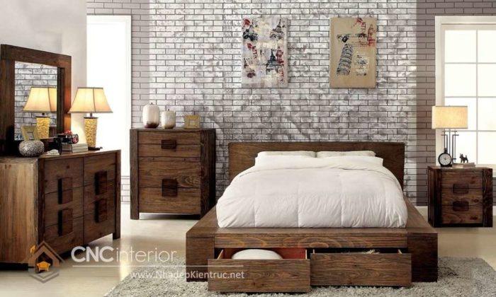 giường gỗ công nghiệp có ngắn kéo 19