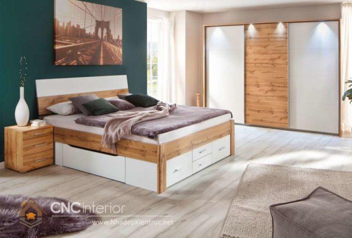giường gỗ công nghiệp có ngắn kéo 2