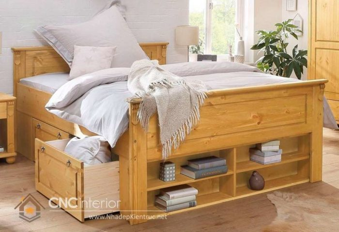 giường gỗ công nghiệp có ngắn kéo 6