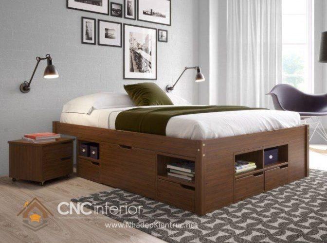 giường gỗ công nghiệp có ngắn kéo 8