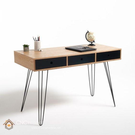 bàn làm việc bằng gỗ công nghiệp chân sắt đơn