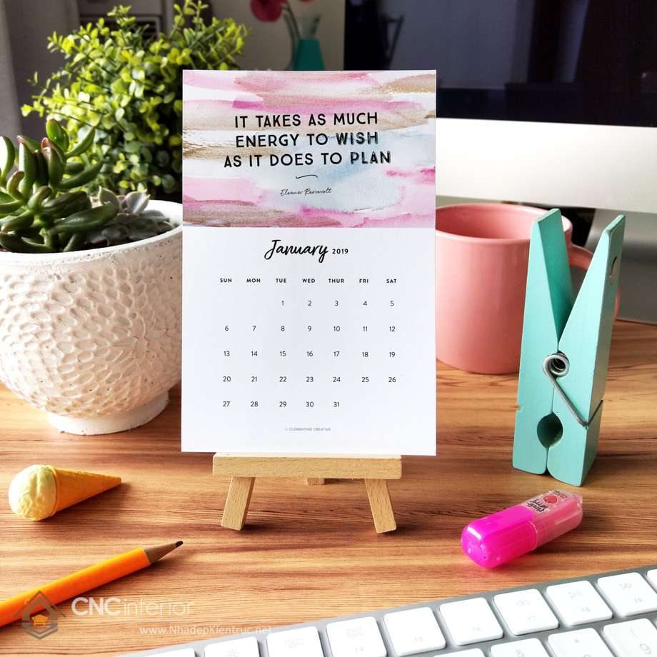 chọn lịch để bàn handmade trang trí bàn 1
