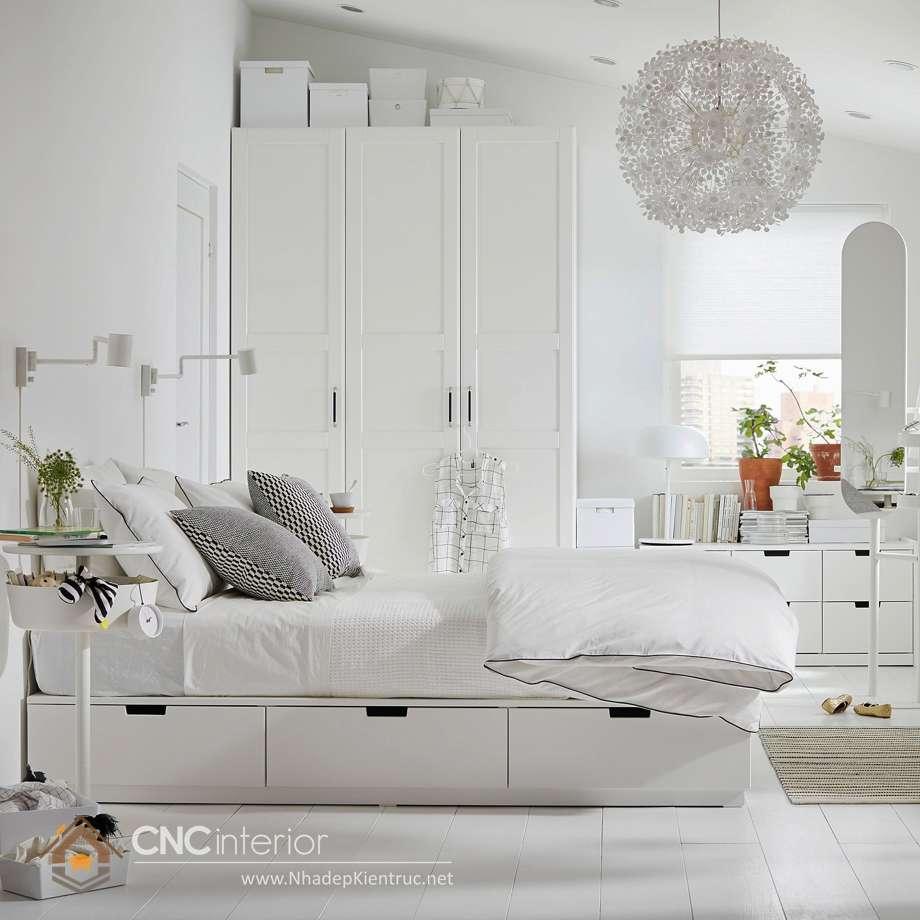 giường ngủ trắng có hộc kéo 10