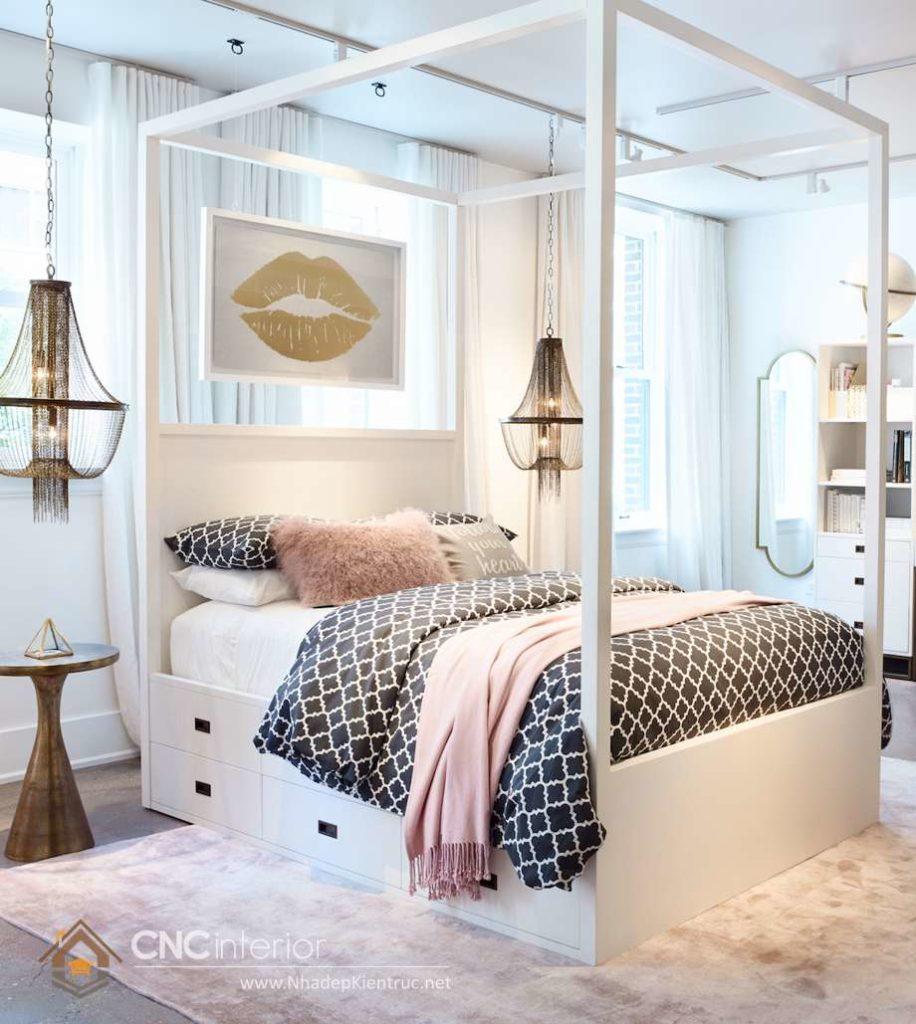 giường ngủ trắng có hộc kéo 11
