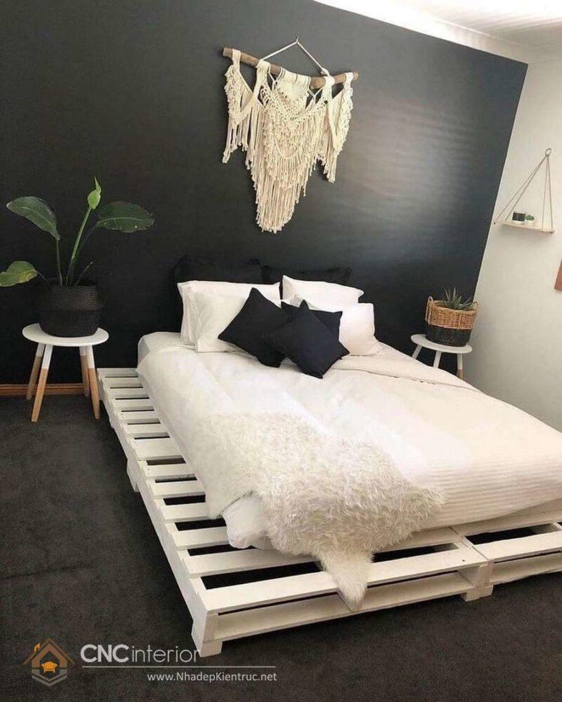 giường ngủ màu trắng gỗ Pallet 15