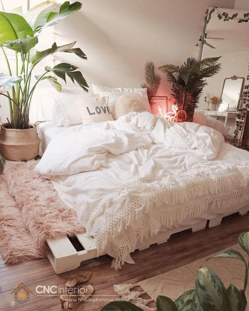 giường ngủ màu trắng gỗ Pallet 16