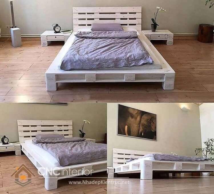 giường ngủ màu trắng gỗ Pallet 17