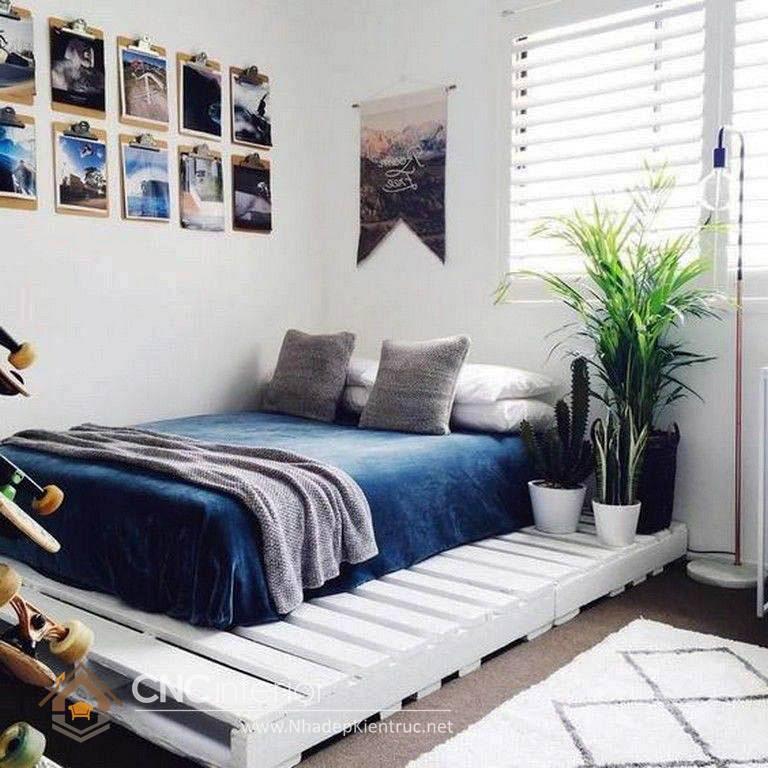 giường ngủ màu trắng gỗ Pallet 18