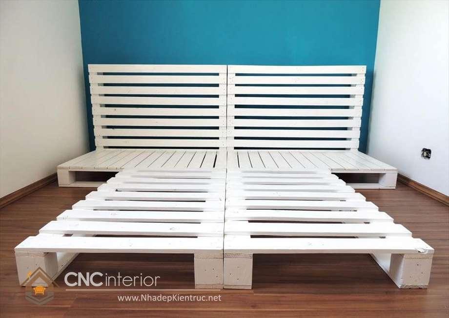 giường ngủ màu trắng gỗ Pallet 19