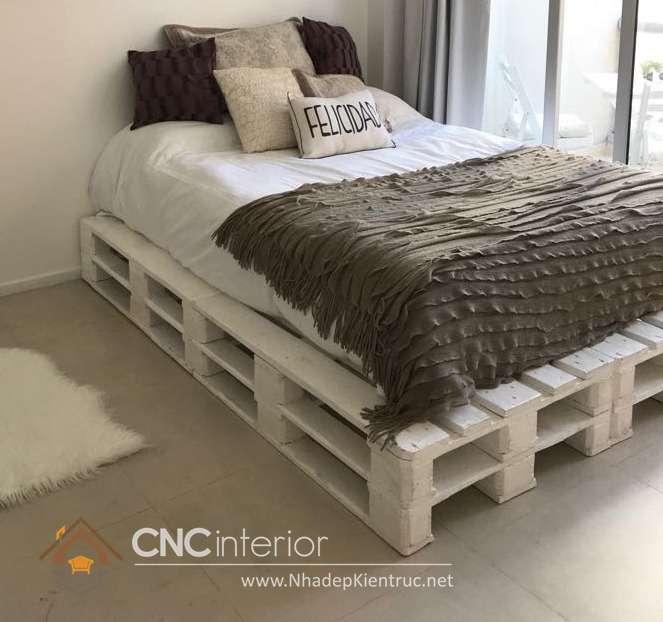 giường ngủ màu trắng gỗ Pallet 20