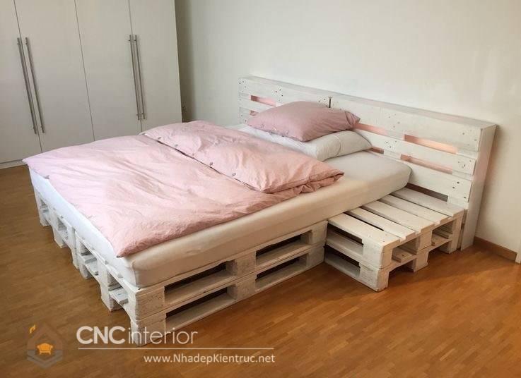 giường ngủ màu trắng gỗ Pallet 21