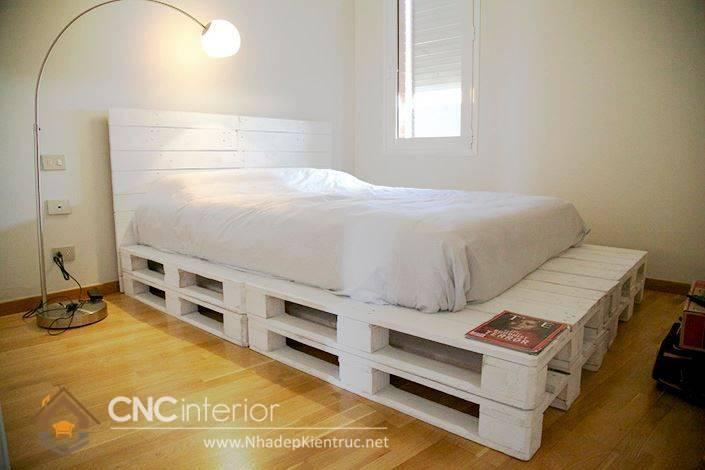 giường ngủ màu trắng gỗ Pallet 22