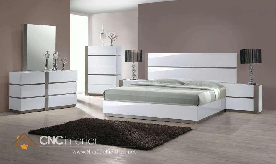 bộ giường ngủ màu trắng 23