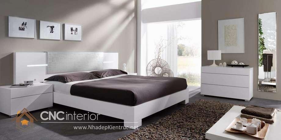 bộ giường ngủ màu trắng 24
