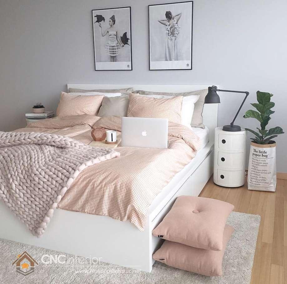 bộ giường ngủ màu trắng đẹp 6