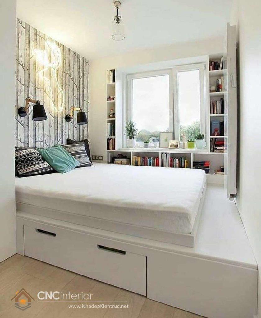 giường ngủ trắng có hộc kéo 7